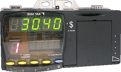 Taxímetro digital - DIGI TAX Platino - Display LED, controles e impressora